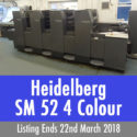Heidelberg SM 52 4 Colour, 2+2 perfecter Offset Press available by Online Auction– Ends March 22nd 2018 3pm